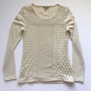 Lucky Brand Lace Panel Waffle Knit Thermal